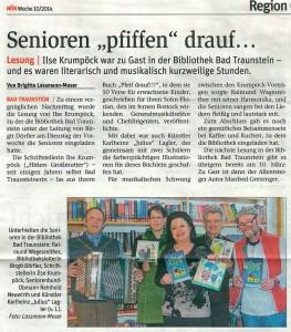 Pfeif drauf - Lesung in Bad Traunstein 2014, NÖN